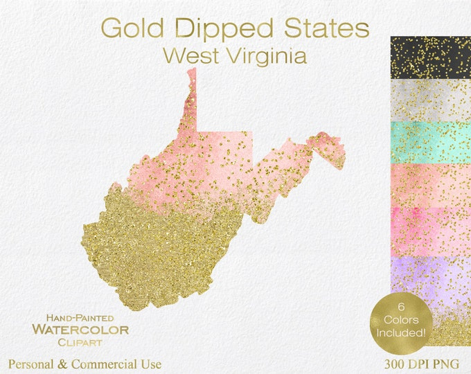 WATERCOLOR & GOLD West Virginia Clipart Commercial Use Clipart United States Shape Clipart Gold Confetti Dust West Virginia Clip Art Graphic
