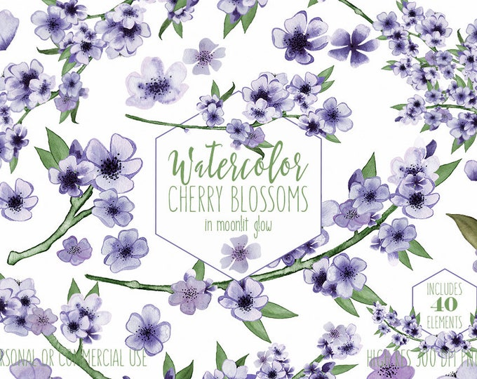 PURPLE WATERCOLOR FLORAL Clipart Commercial Use Clip Art Violet Cherry Blossom Sakura Branches Purple Floral Wreaths Spring Wedding Graphics