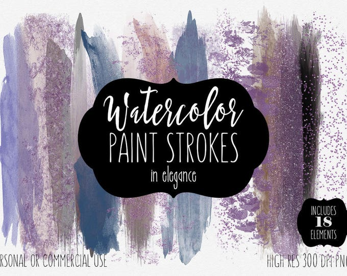 WATERCOLOR BRUSHES Clipart Commercial Use Clip Art 18 Watercolor Paint Stroke Purple Chocolate Brown Confetti Watercolor Paint Logo Clip Art