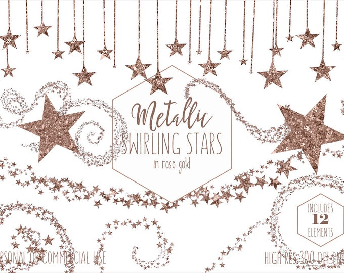 ROSE GOLD STAR Clipart Commercial Use Clip Art Metallic Foil Swirling Star Trails Night Sky Celestial Clipart Baby Shower Digital Graphics