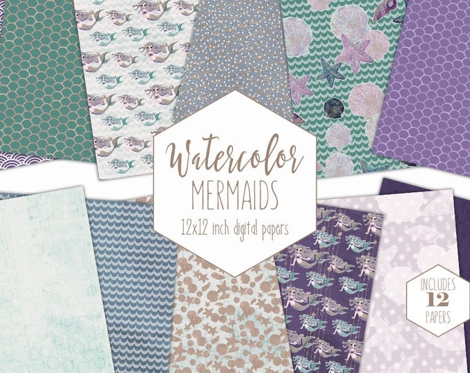 PURPLE MERMAID DIGITAL Paper Pack Commercial Use Rose Gold Under the Sea Backgrounds Mint Fish Scales Watercolor Scrapbook Birthday Clipart