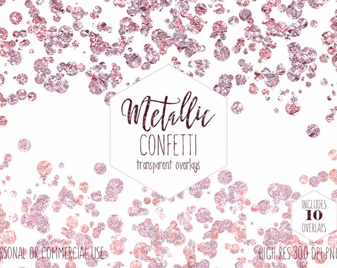 BLUSH PINK CONFETTI Overlays Clipart Commercial Use Clip Art Transparent Borders Rose Gold Metallic Wedding Invitation Baby Digital Graphics