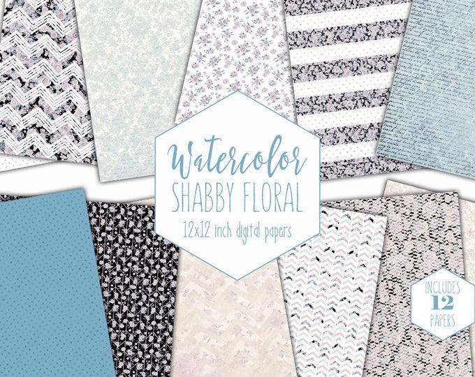 DUSTY BLUE FLORAL Digital Paper Pack Commercial Use Blush Pink Watercolor Backgrounds Shabby Chic Scrapbook Papers Polka Dot Flower Patterns