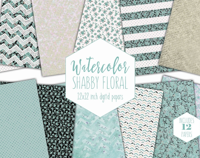 AQUA WATERCOLOR FLORAL Digital Paper Pack Commercial Use Beach Sand Backgrounds Shabby Chic Scrapbook Papers Watercolour Dot Stripe Patterns