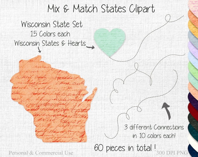 WISCONSIN STATE to STATE Clipart Commercial Use Clipart Mix & Match Home States Wedding Clip art Wisconsin Map United States Shapes Clipart