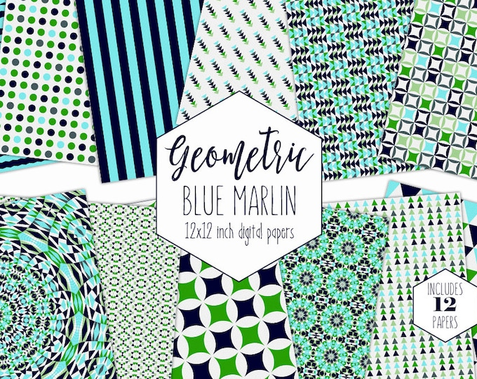 AQUA & NAVY BLUE Digital Paper Pack Beach Backgrounds Geometric Scrapbook Papers Triangle Patterns Party Printable Commercial Use Clipart