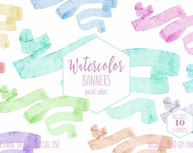 WATERCOLOR RIBBON BANNERS Clipart Commercial Use Clip Art Wedding Banners Pastel Watercolour Graphics Invitation Banners Digital Text Frames