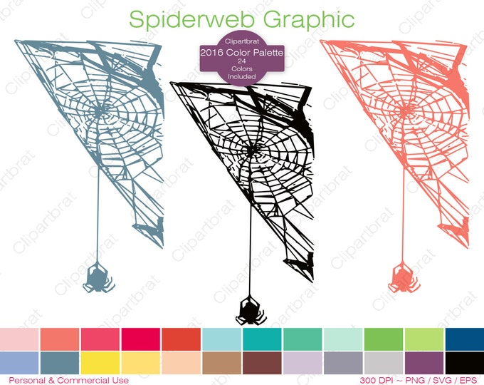 SPIDERWEB Clipart Commercial Use Clipart Spider Graphic 2016 Color Palette 24 Colors Spider Web Vector Graphic Halloween Stamp Png Eps Svg