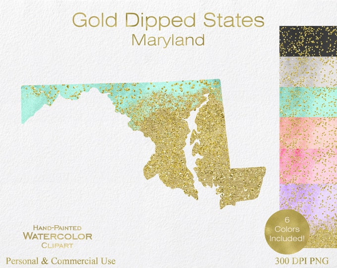 WATERCOLOR & GOLD MARYLAND Clipart Commercial Use Clipart United States Shape Wedding Clipart Gold Confetti Dust Maryland State Clip Art