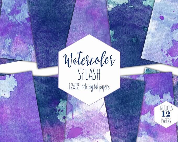 NAVY BLUE WATERCOLOR Digital Paper Pack Commercial Use Splatter Backgrounds Purple Paint Splash Scrapbook Papers Watercolour Wash Textures