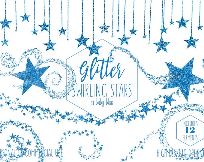 BLUE GLITTER STARS Clipart Commercial Use Clip Art Sky Images Metallic Celestial Bunting Banner & Borders Baby Boy Nursery Digital Graphics