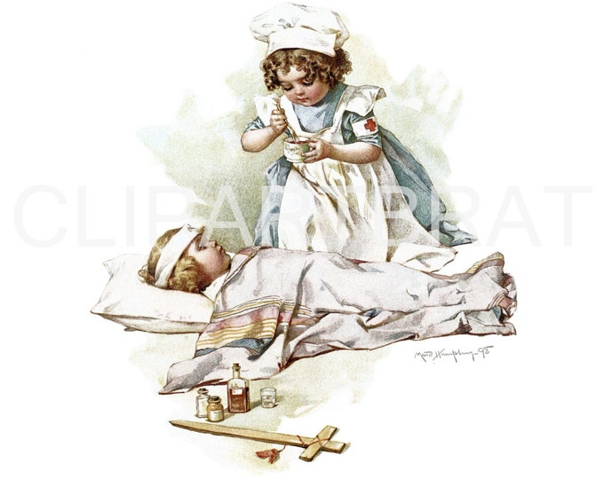 RED CROSS NURSE Printable Art Print Instant Download Gallant Little Patriots Maud Humphrey Nursing Medical Print Poster Multiple Sizes