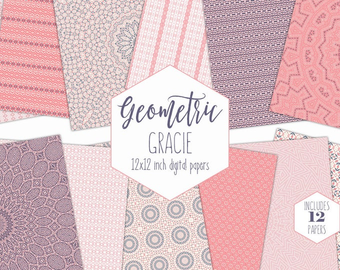 SALMON PINK & NAVY Digital Paper Pack Bohemian Backgrounds Tribal Mandala Scrapbook Papers Baby Girl Patterns Party Printable Boho Clipart