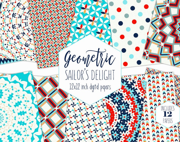 GEOMETRIC NAUTICAL Digital Paper Pack Red Navy Blue Backgrounds 4th of July Scrapbook Papers Compass Patterns Party Printable Commercial Use