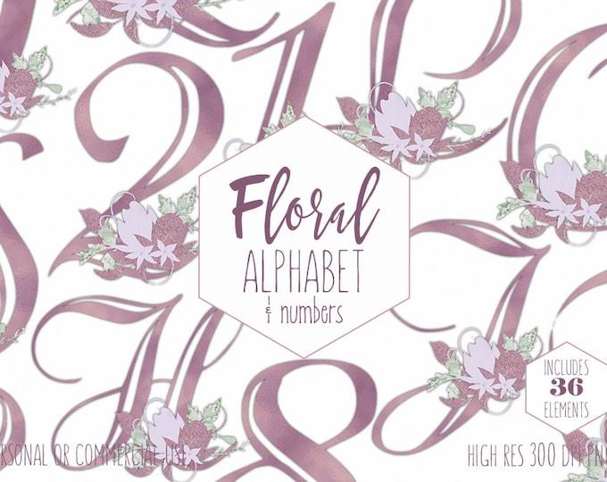 MAUVE FLORAL ALPHABET Clipart for Commercial Use Wedding Monogram Clip Art Lavender Purple Foil Girly Letters & Numbers Digital Graphics