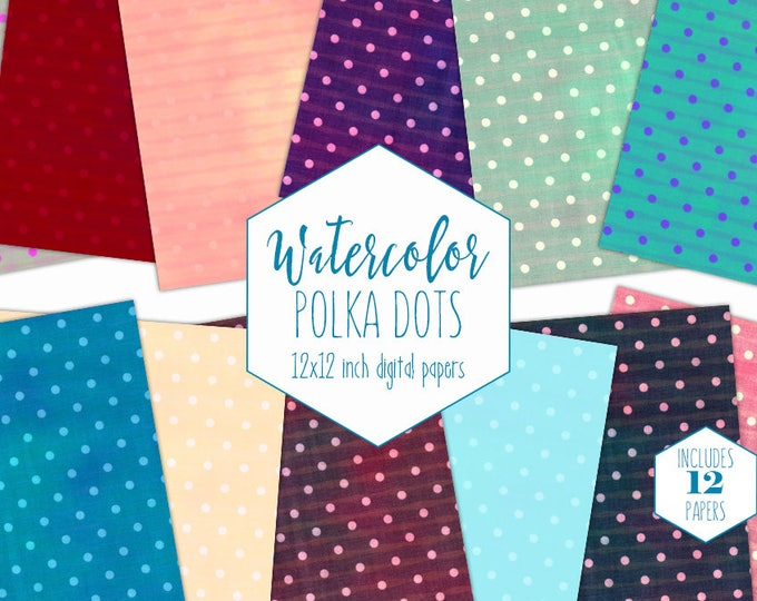 WATERCOLOR POLKA DOT Digital Paper Pack Commercial Use Rainbow Backgrounds Red Peach Aqua Blue Scrapbook Birthday Party Printable Patterns