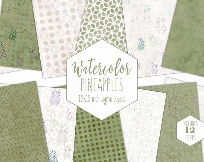 OLIVE GREEN PINEAPPLE Digital Paper Pack Commercial Use Tropical backgrounds Ivory Scrapbook Papers Geometric Beach Watercolour Patterns