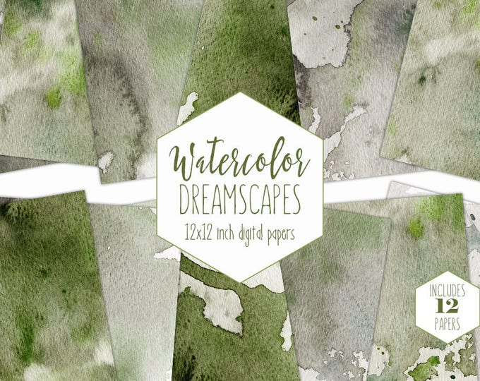 OLIVE GREEN WATERCOLOR Digital Paper Pack Commercial Use Sage Backgrounds Earth Tones Scrapbook Papers Splatter Watercolour Wash Textures