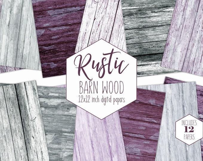 GRAY WOOD Digital Paper Pack Burgundy Backgrounds Plum Purple Painted Wood Scrapbook Paper Barn Wood Grain Patterns Wooden Textures Clipart