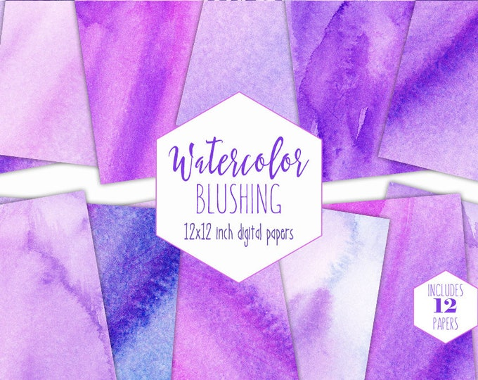 PINK & PURPLE WATERCOLOR Digital Paper Pack Commercial Use Backgrounds Ultra Violet Scrapbook Papers Watercolour Wash Textures Girly Clipart