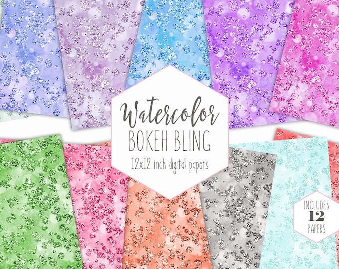 WATERCOLOR GEMS Digital Paper Pack Commercial Use Backgrounds Rainbow Wedding Scrapbook Papers Diamond Gemstones Bokeh Watercolor Texture