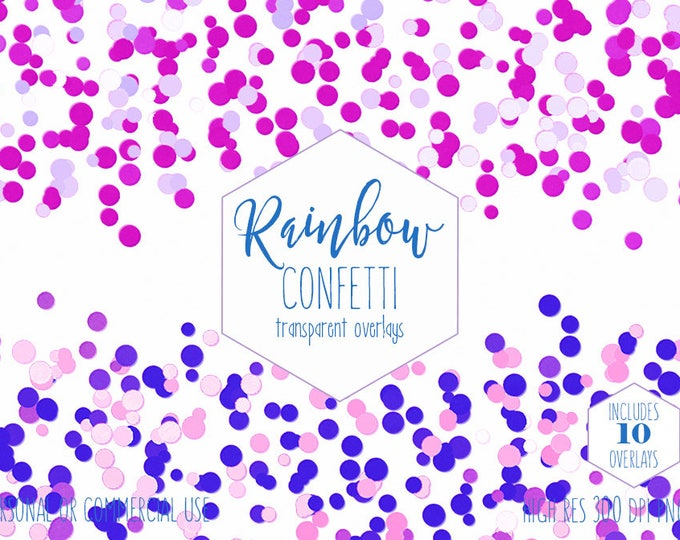 RAINBOW CONFETTI BORDER Clipart for Commercial Use Clip Art Transparent Overlays Blue Purple Pink Birthday Party Invitation Digital Graphics