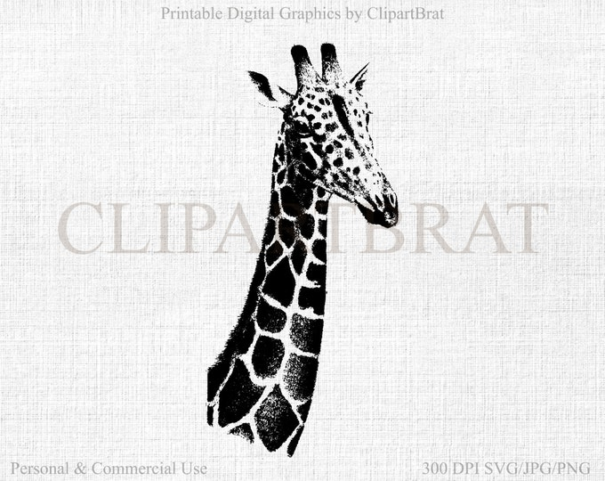 GIRAFFE CLIPART Commercial Use Clipart Giraffe Vector Clipart Digital Stamp Giraffe Fabric Transfer Clipart Vector Graphic Jpg/Png/Svg