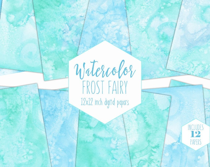 SKY BLUE WATERCOLOR Digital Paper Pack Commercial Use Aqua Backgrounds Fluffy Cloud Scrapbook Papers Real Watercolour Textures Baby Clipart