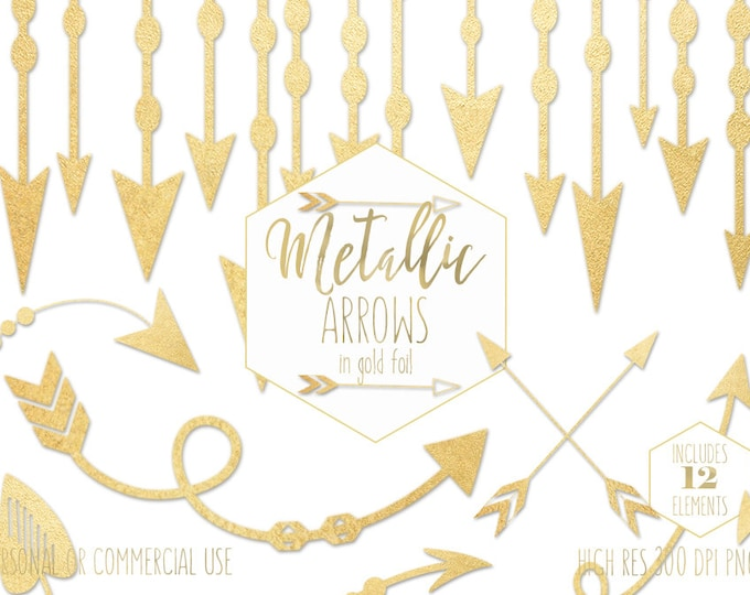 GOLD FOIL ARROW Clipart for Commercial Use Clip Art Metallic Gold Arrow Tribal Wedding Invite Images Boho Chic Arrow Border Digital Graphics