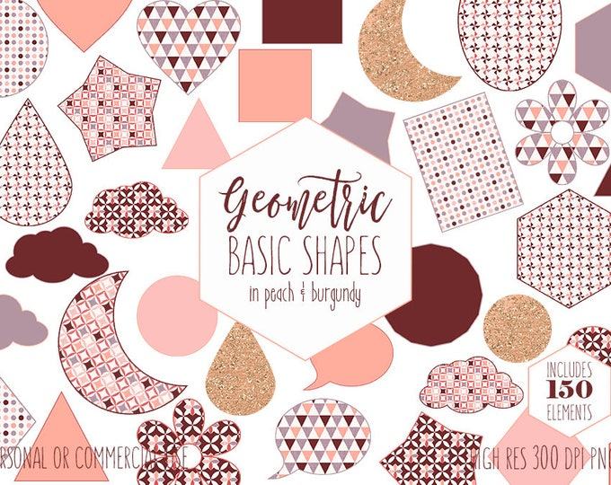PEACH & BURGUNDY CLIPART for Commercial Use Planner Clip Art Rose Gold Glitter Geometric Shapes Circles Stars Moons Sticker Digital Graphics