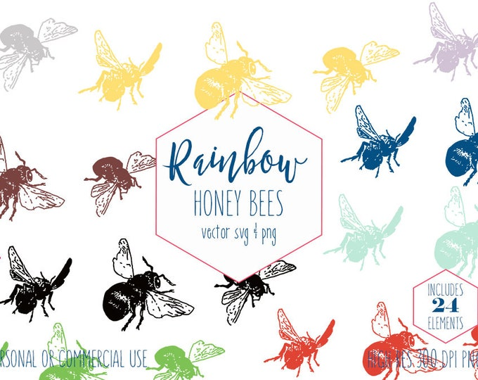 HONEY BEE CLIPART for Commercial Use Planner Clipart Rainbow plus Yellow & Black Bumble Bees Insects Summer Vector Digital Graphics
