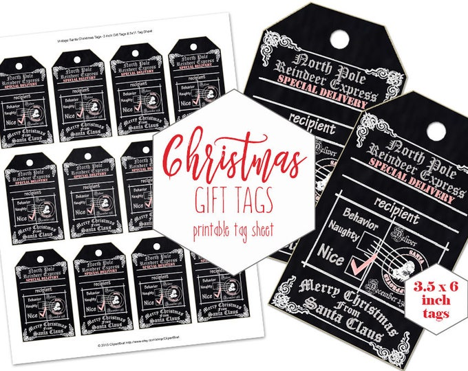 PRINTABLE CHRISTMAS GIFT Tags for Kids Chalkboard Holiday Tags From Santa Claus North Pole Reindeer Express Labels Naughty or Nice Tags
