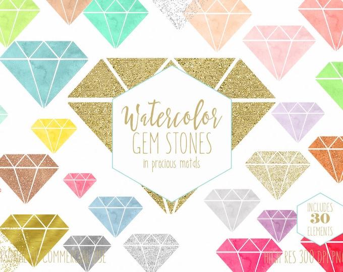 WATERCOLOR GEMS Clipart Commercial Use Clip Art Watercolor Gemstone Silver Metallic Gold Confetti Glitter Diamond Gems Geometric Graphics
