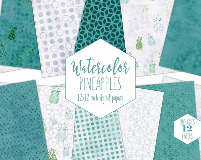 AQUA TROPICAL BEACH Digital Paper Pack Commercial Use Pineapple Clipart Backgrounds Teal Blue Scrapbook Papers Geometric Watercolor Patterns