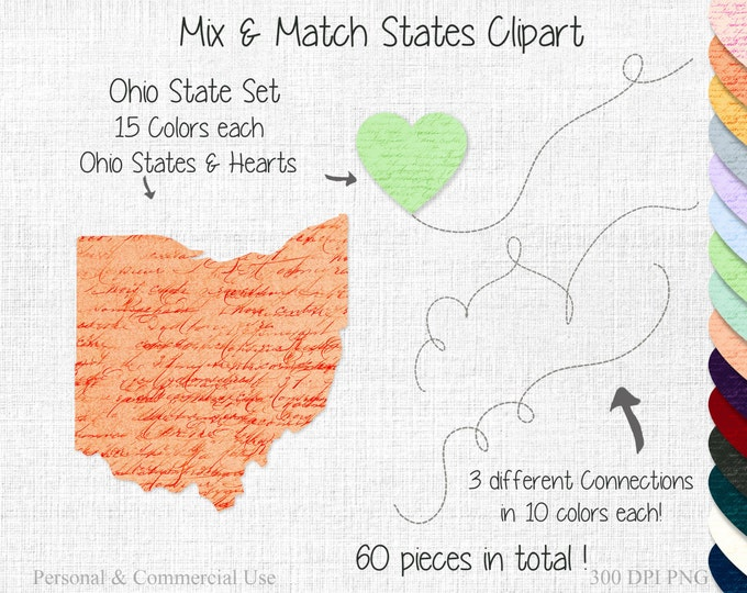OHIO STATE to STATE Clipart Commercial Use Clipart Mix & Match States Wedding Clipart Ohio Map Graphic Ohio Home State Heart Map Clipart