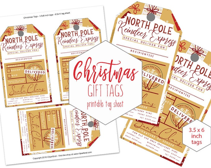 GOLD CHRISTMAS Gift Tags Printable Authentic From Santa Claus DIY Naughty or Nice Holiday Reindeer Express Special Delivery for Kids Elegant