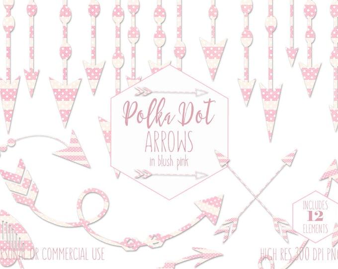 BLUSH PINK ARROW Clipart for Commercial Use Planner Clip Art Tribal Arrow Border Baby Girl Banner Pink Polka Dot Boho Chic Digital Graphics