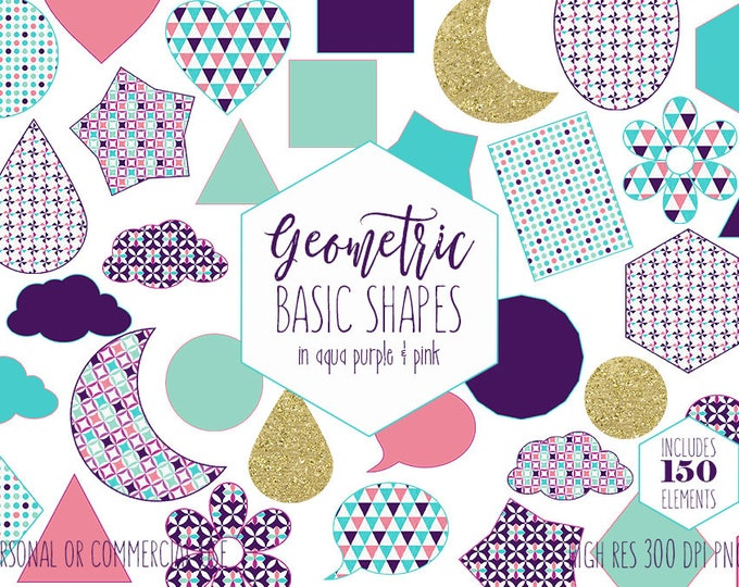 GEOMETRIC SHAPES CLIPART for Commercial Use Planner Sticker Clip Art Aqua Purple Pink & Gold Glitter Circles Stars Triangle Digital Graphics