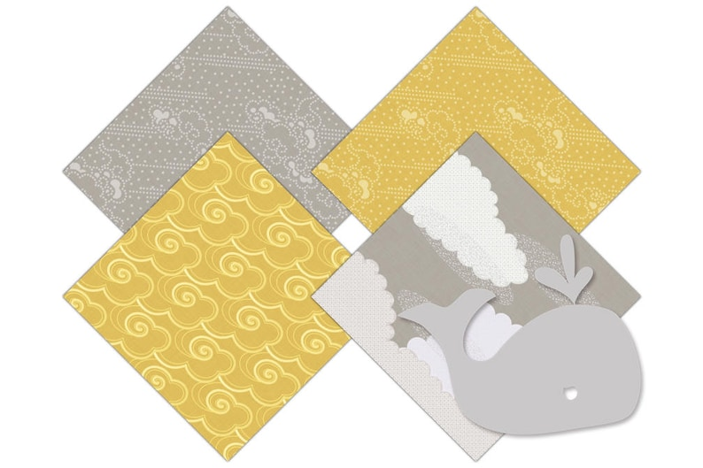 YELLOW /& GRAY WHALE Digital Paper Pack baby Boy Backgrounds Nautical Ocean Scrapbook Papers Beach Patterns Birthday Party Printable Clipart