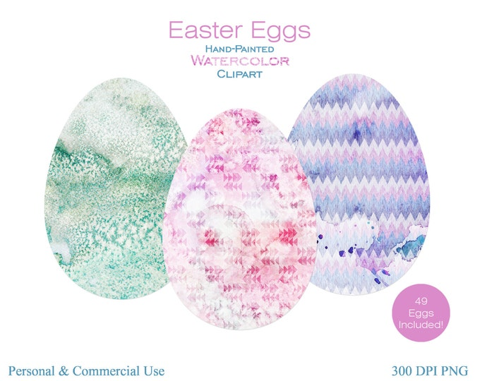 WATERCOLOR EASTER EGGS Clipart Commercial Use Clipart Easter Egg Clipart 49 Easter Graphics Watercolor Geometric Easter Eggs Clipart