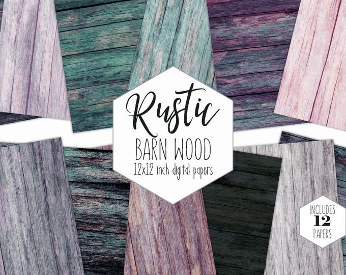 RUSTIC BARN WOOD Digital Paper Pack Wood Grain Backgrounds Teal & Purple Painted Wood Scrapbook Papers Gray Textures Commercial Use Clipart