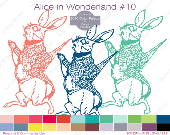 ALICE IN WONDERLAND Clipart Commercial Use Clipart The White Rabbit Late Graphic 2016 24 Color Palette Digital Sticker Vector Png Eps Svg