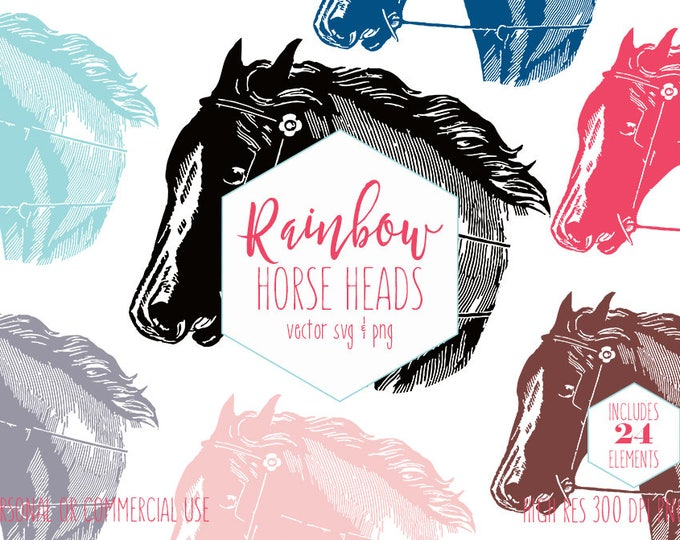 HORSE HEAD CLIPART for Commercial Use Vintage Clip Art Horse Pony Farm Animal Images Rainbow Colors Equestrian Vector Digital Graphics