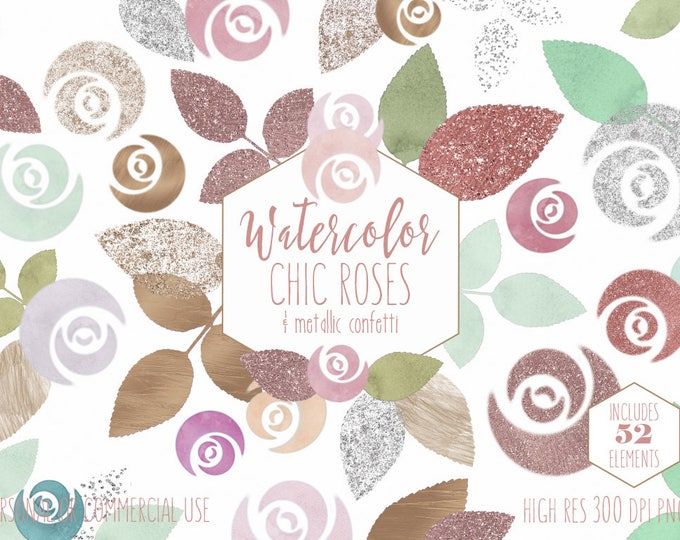 BLUSH PINK WATERCOLOR Floral Clipart Commercial Use Clip Art 52 Watercolour Mint & Rose Gold Metallic Flowers Wedding Invitation Graphics