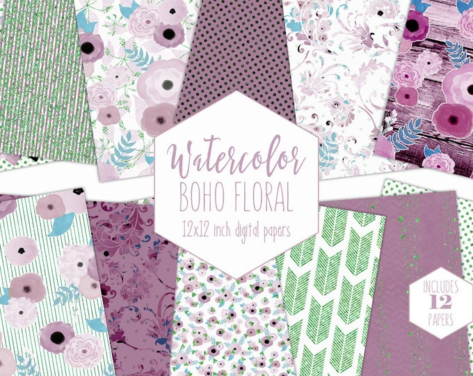 BLUSH PINK WATERCOLOR Floral Digital Paper Pack Green Metallic Commercial Use Backgrounds Wood Scrapbook Paper Bohemian Wedding Patterns