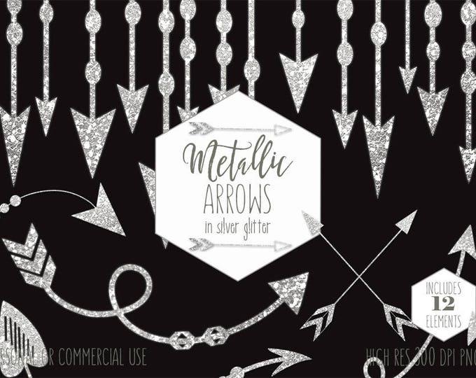 SILVER ARROW Clipart Commercial Use Boho Planner Clip Art Metallic Glitter Arrows Bohemian Tribal Wedding Invitation Border Digital Graphics