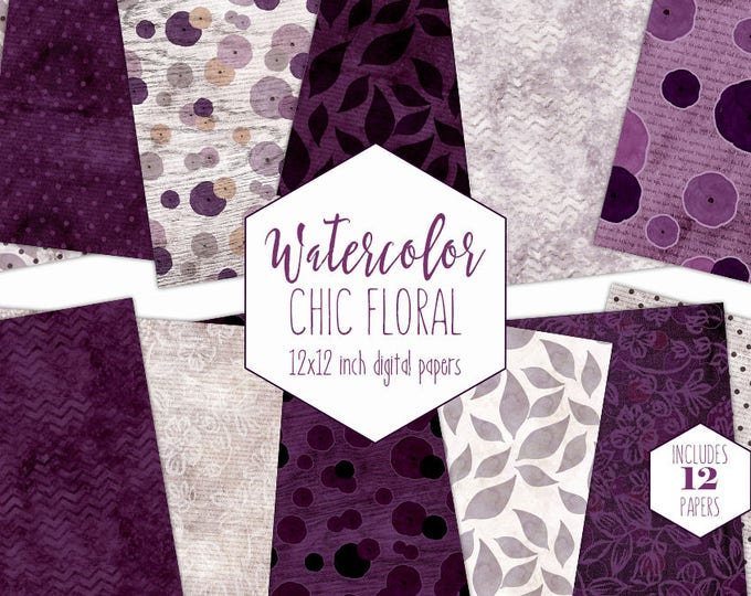 PURPLE WOOD FLORAL Digital Paper Pack Commercial Use Wine Backgrounds Dark Purple & Gray Watercolor Flowers Scrapbook Papers Lace Patterns