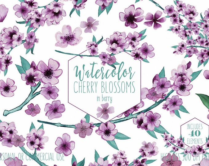 PURPLE WATERCOLOR FLORAL Clipart Commercial Use Clip Art Wedding Flowers Hand Painted Spring Cherry Blossom Branches Sakura Wreath Graphics