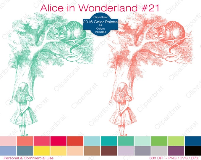 ALICE IN WONDERLAND Clipart Commercial Use Clipart The Cheshire Cat Graphic 2016 24 Color Palette John Tenniel Sticker Vector Png Eps Svg