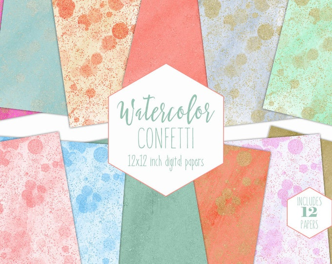 RAINBOW WATERCOLOR CONFETTI Digital Paper Pack Commercial Use Backgrounds Gold Glitter Dust Scrapbook Papers Peach Mint Watercolour Textures